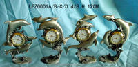 Hot sale special pewter figure desktop clock for wholesales