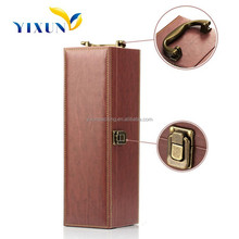 Wholesale Fashion Brown color PU Faux leather wine bottle carrier for 1 bottle