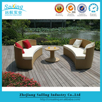 New Design Outdoor Poly Rattan Simple Design Sofa Set