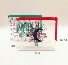 full color printing PVC bags for cosmetic set Heat-seal pvc zipper pouch