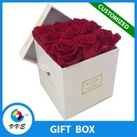 Romantic square rose flower box papercard packaging box vendor located in Shenzhen CHINA