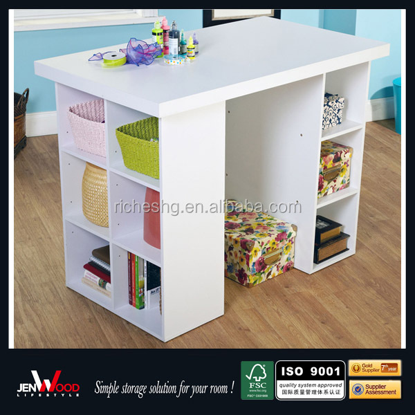 White Finish Mdf Counter Height With Side Storage Unit Sewing Table ...