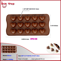 BT0109 Silicone Mold for Chocolate Jelly and Candy Mold 15 Cups Heart Shaped Silicone Chocolate Mold Ice Cub