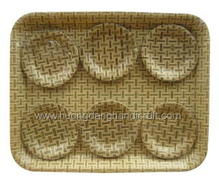 Vietnam press bamboo round dish for food, fruit holder and gifts