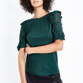 Newest 2018 women apparel clothing dark green lace frill designer western tops images