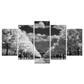 Black and White Landscape Image Giclee Prints Scenery Picture Printed on Canvas Canvas Painting for Interior Decoration 5 Panels