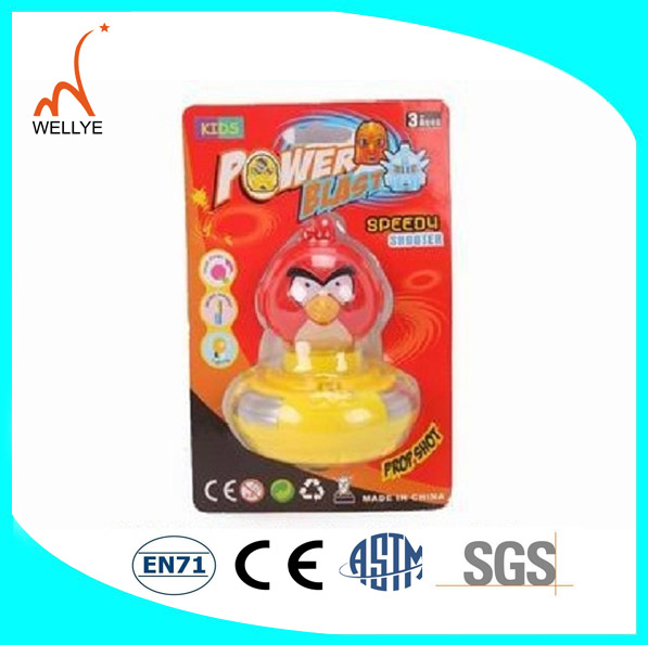 New style! 2013year yellow duck plastic flashing music spinning top with infrared spinning top Made in china