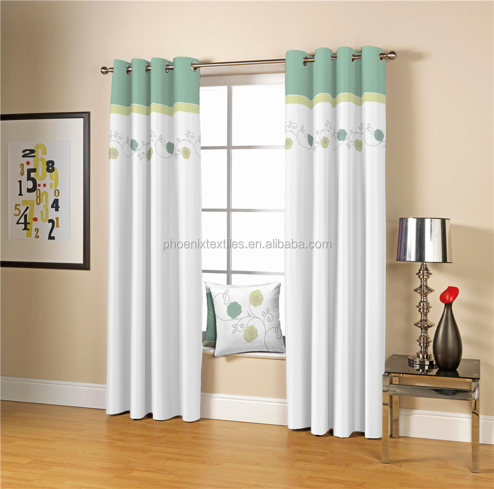 Aqua patchwork polyester curtain