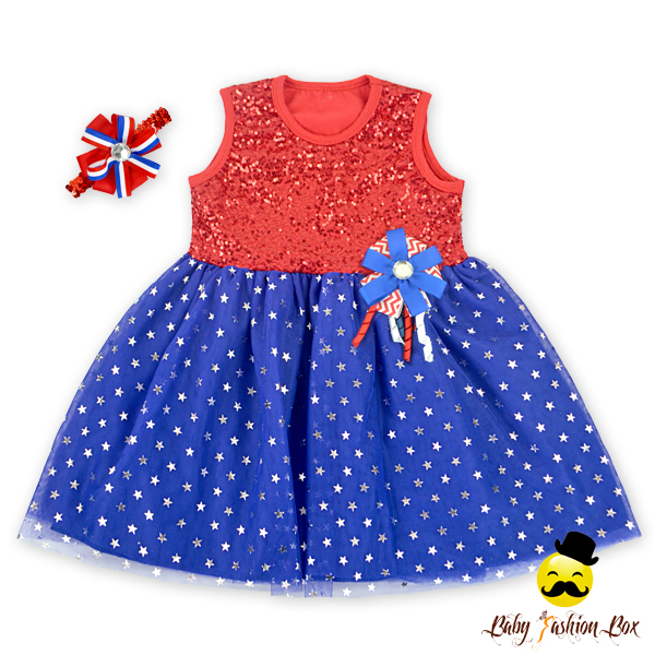 2 year old Girl Dress Sequin Star Printed Ruffle Kids Clothing Three Pieces Girls Party Dresses with Headband Brooch
