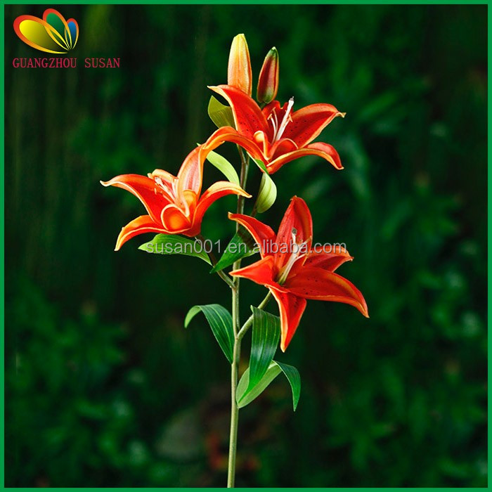 Real touch PU artificial Tiger lily Orchid with Five heads for sale