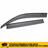 INJECTION DOOR VISOR FOR TOYOTA PRADO FJ150 2010 Window Vent Visor Deflector Rain Guard (Dark Smoke) 4-pc Set