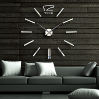Factory Price, Modern DIY Large Wall Clock 3D Acrylic Mirror Surface Sticker Home Office Decor