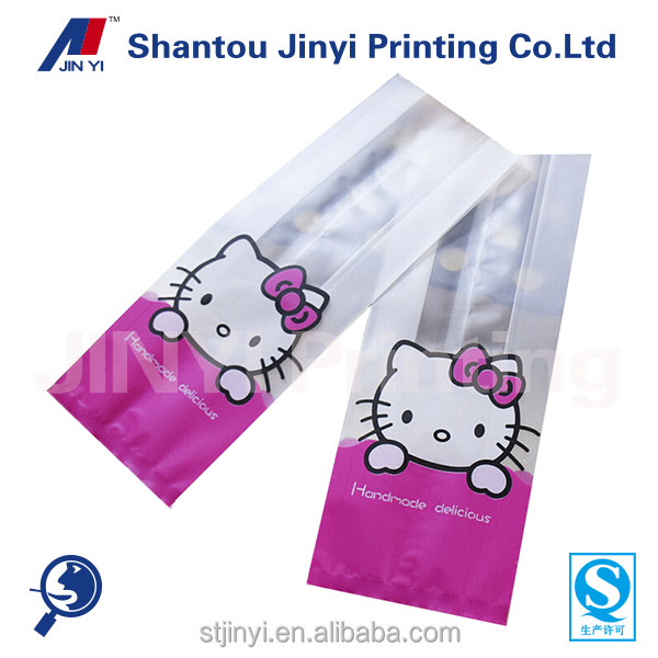 Customize design cute kitty printed transparent cookies dry baked goods packaging bags
