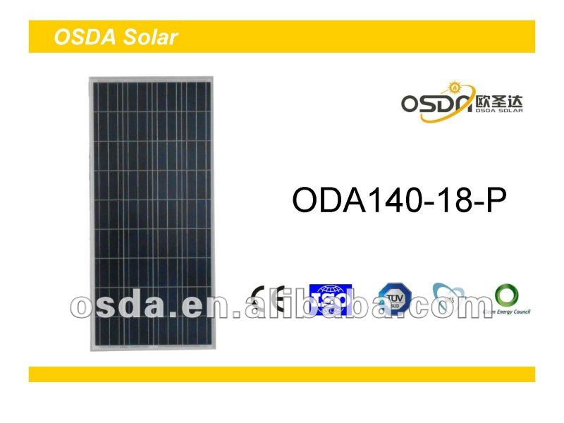 TUV MCS CEC certificated polycrystalline 140W solar panel