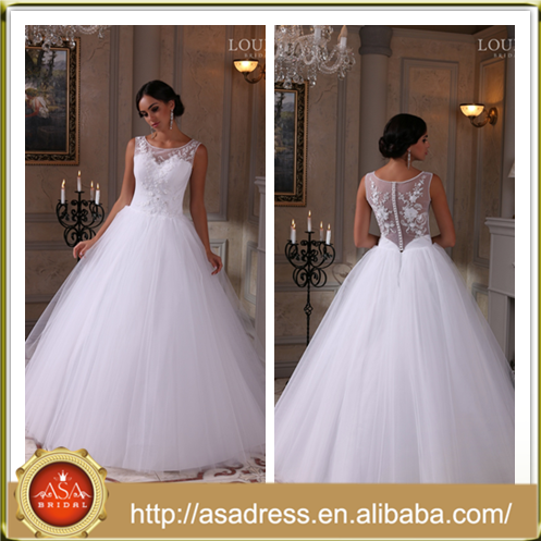 LBS-02 Princess Style Sleeveless Ball Gown Bridal Party Gown 2016 Hot Sale Appliqued Wedding Dresses in Dubai for Wedding Party