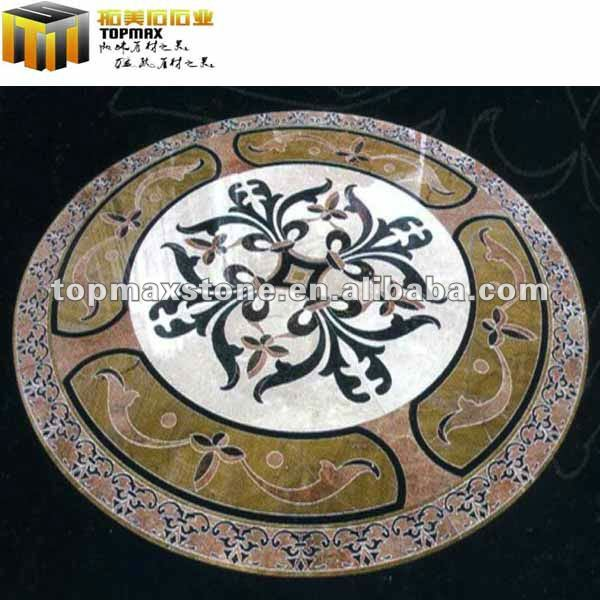 Dark Marble Waterjet Medallion Design Floor Pattern