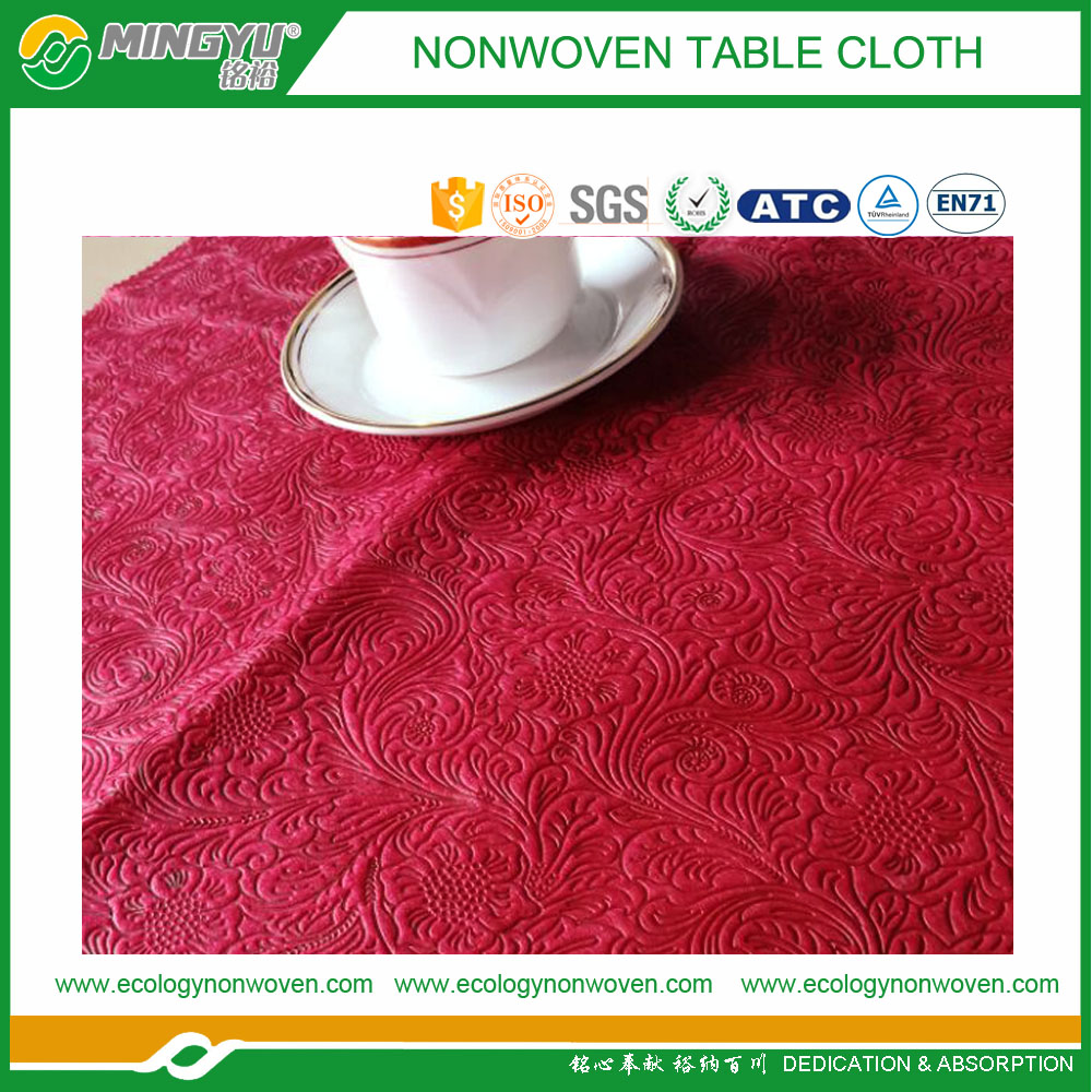 100%pp printing claret non woven fabric pp Spunbond nonwoven fabric for table cloth MINGYU China suppiler