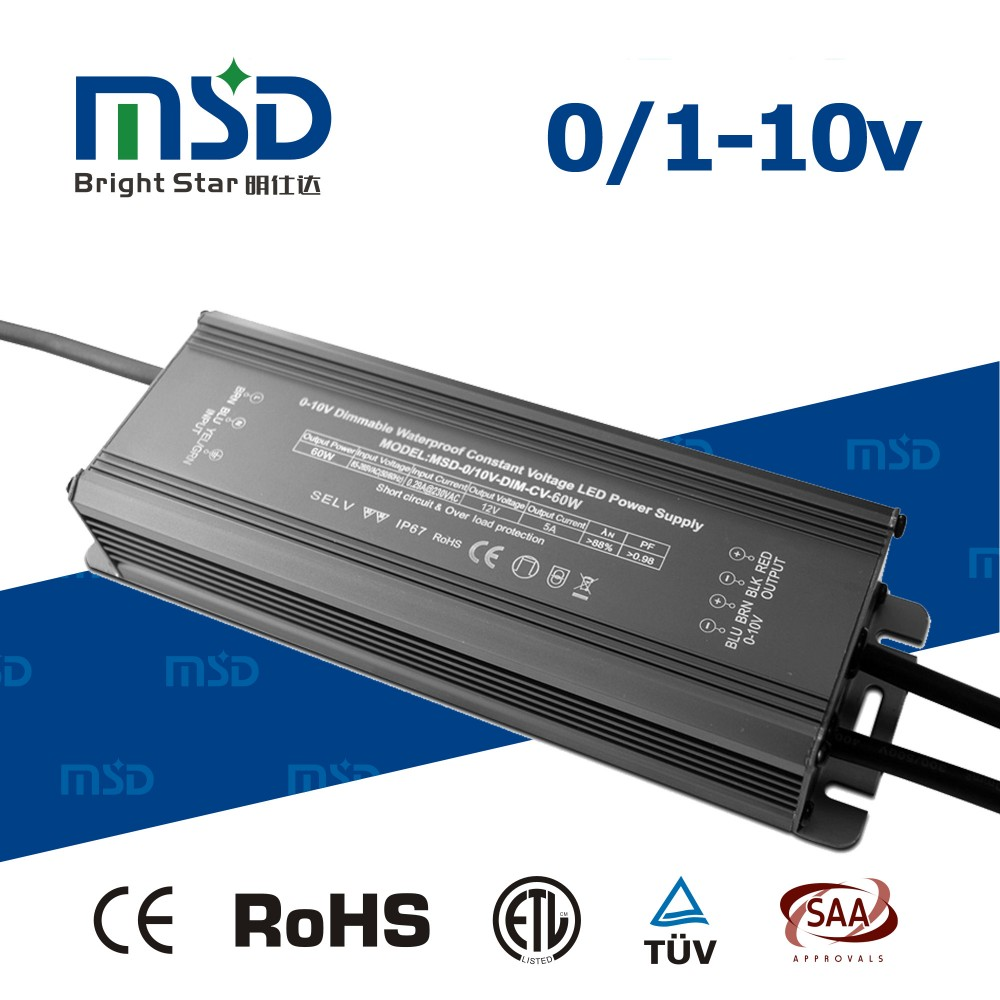 0/1-10V-DIM-CV 60W 12/24V LED Driver Power waterproof with 5 years warranty