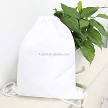 Washable waterproof white cotton drawstring backpack bags