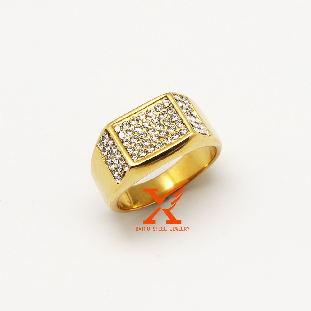 Mens Womens Stainless Steel Gold Plated Iced Out Full Bling Bling Rhinestone Ring