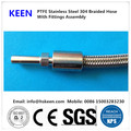 "1 / 4 ""60 inch long stainless steel with external thread fittings braided PTFE hose"