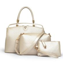 Newly Import From China Stock Mature Women 3pcs Handbag Cheap Price with High Quality Leather TCB7529-2