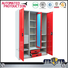 Knock down 3 door bedroom wardrobe design with Mirror / steel almirah designs metal cabinet on sale