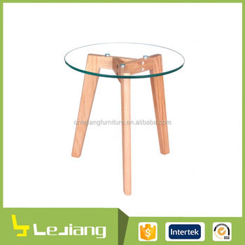 european style clear tempered glass coffee table