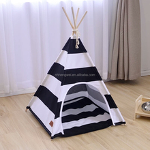 Wholesale black striped custom durable cotton canvas pet cat play sleep teepee tent wooden dog house
