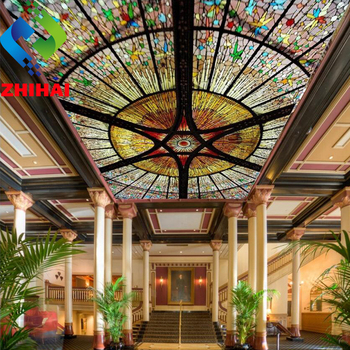3.2mwx2mh per piece acoustical artistic ceiling european style suspended tiles color glass print pvc 3d effect stretch ceiling