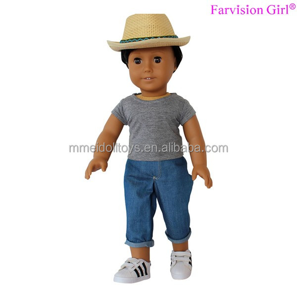 Grey t-shirt and jeans Boy doll clothes 18 inch clothes for small dolls