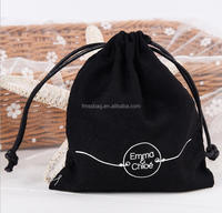 Customized Linen velvet printing drawstring jewellery pouch gift bags