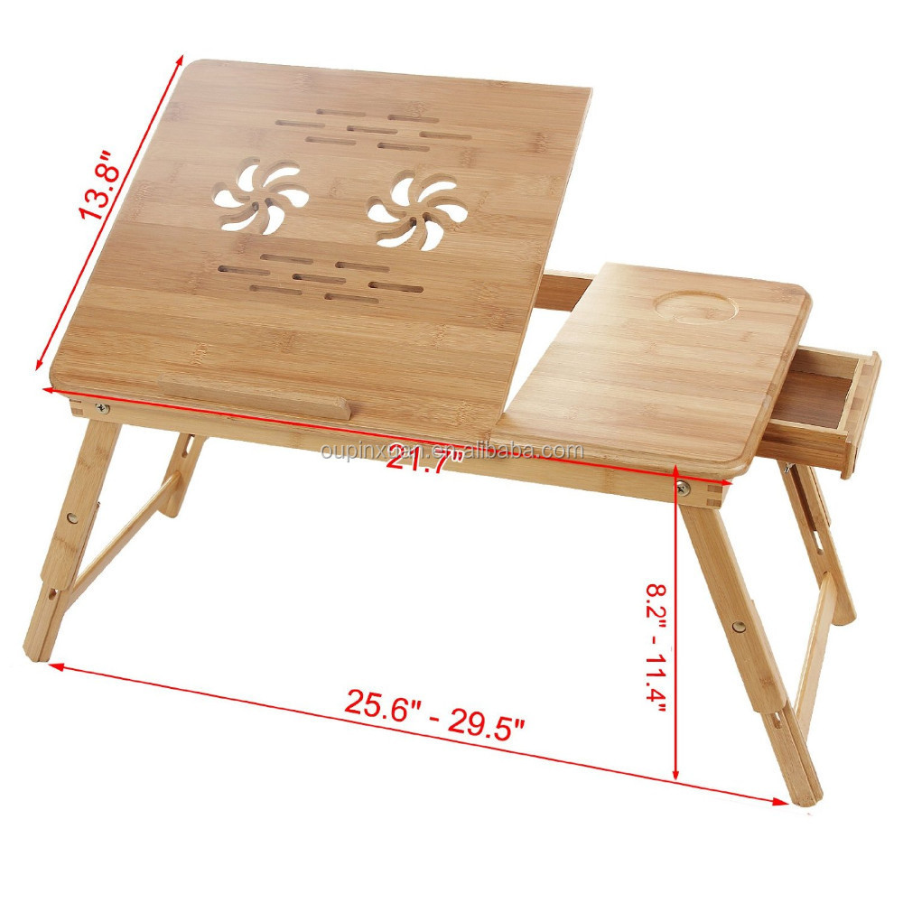 beautidul pattern Carvened flower Solid bamboo durable and portable folding laptop desk overbed tray