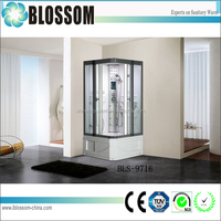 China prefab sliding glass door prefab steam shower room with lights