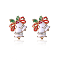 Ali-express Website Hot Festival Wholesale Products Drop Oil Crystal Jewelry Handmade Lovely Bell Shape Earring Christmas Gift