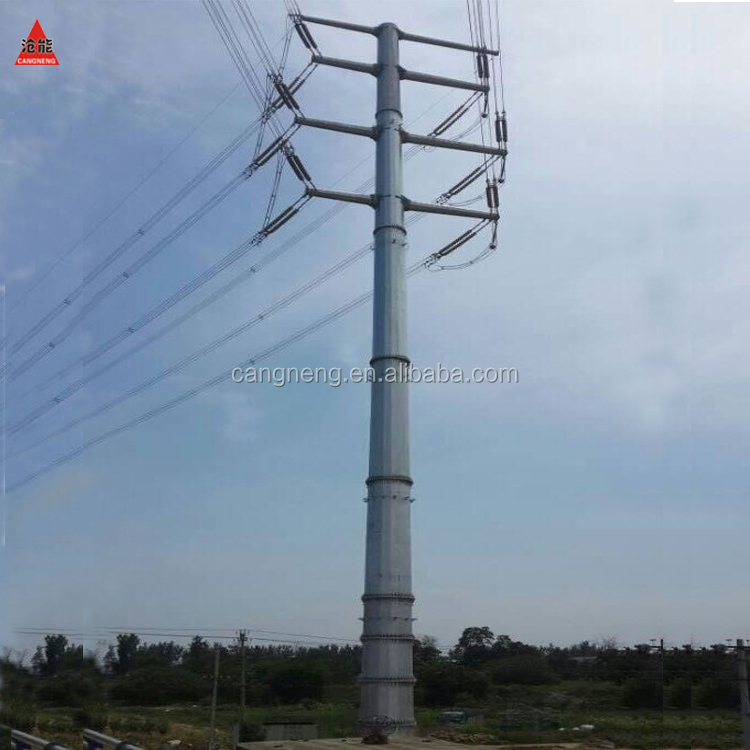galvanized tubular electric steel power pole for transmission