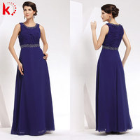 Sleeveless ruffle royal blue chiffon maxi evening dresses for women mother of the bride dress 1013