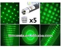 Shenzhen factory CE/ROHS green laser pointer 5 heads(5 pack) ,5 in 1 green laser pointer