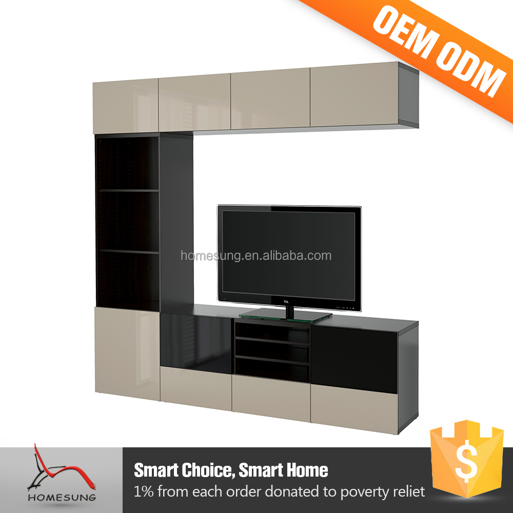 Living Room Lcd Wall Units Mount Wooden Led Tv Stand Furniture With Showcase