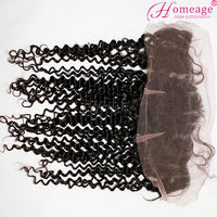 Homeage beautiful lady hair unprocedded brazilian curly 360 lace frontal