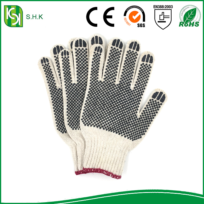 Garden gloves with double sides black PVC dots safety cotton gloves
