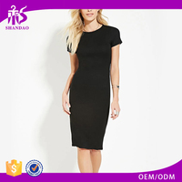 2017 Guangzhou Shandao Manufacturers Summer High Quality Black Short Sleeve Bodycon Cotton Pictures Of Casual Lady Fashion Dress