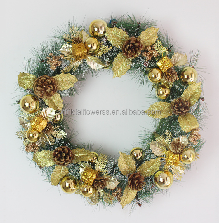 50cm gold artificial decorative poinsettia flower Christmas wreath