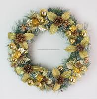 50cm gold artificial decorative poinsettia flower Christmas wreath