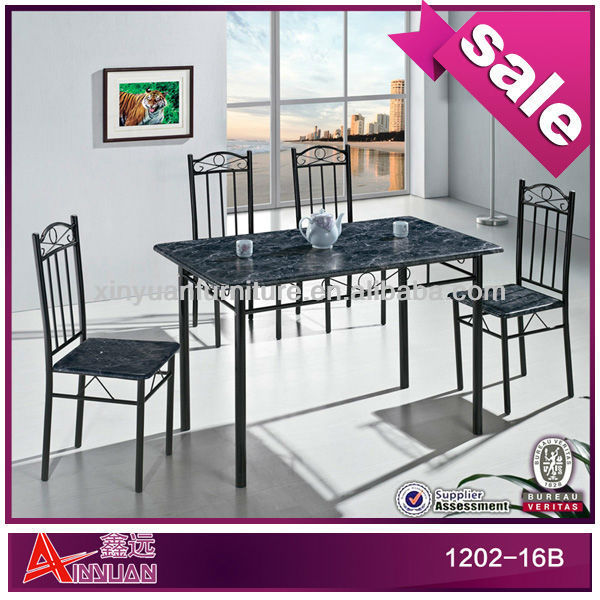 1202-16B dining room 4 chairs industrial wood metal dining table