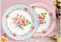 Pretty bone china round shape flower pattern dinner dishes plates