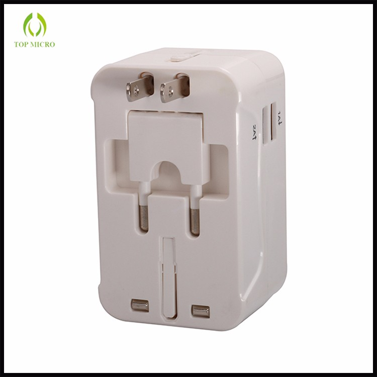 4 Port USB Universal Travel Easy Adapter With US UK EU AU Folding Plug +1 AC Socket Wall Charger