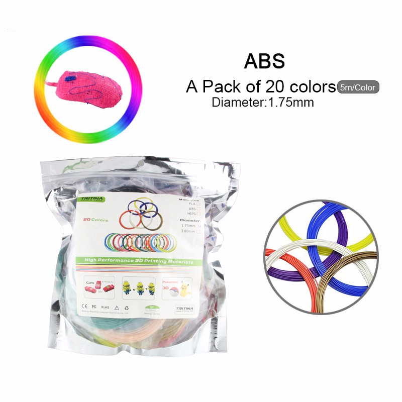 PLA 3D Filament Refills Pack of 20 Colors INCLUDES 4 Luminous! *5 Meters 1.75mm Around For Tritina 3D Printing Pen Printer