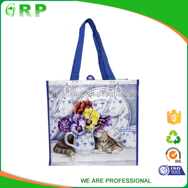 Custom printed waterproof recyclable foldable shopping bag polyester