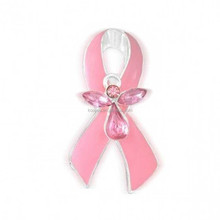 breast cancer awareness pink ribbon pin austrian crystal angel